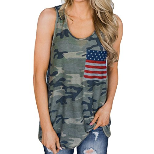 TOPUNDER American Flag Camo Vest for Women Star Sewn Crew Neck Tank Top Sleeveless Shirt