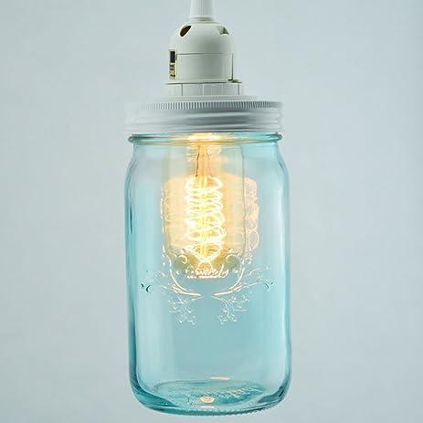 fantado water blue glass mason jar pendant light kit wide mouth