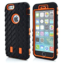 iPhone 6S Case,iPhone 6 Case,Lantier Tire Design Cool Series 3 in 1 Heavy-Duty Dual Layer Soft Touch Protective Cover with Hard PC Inner Case for Apple iPhone 6/6s Orange
