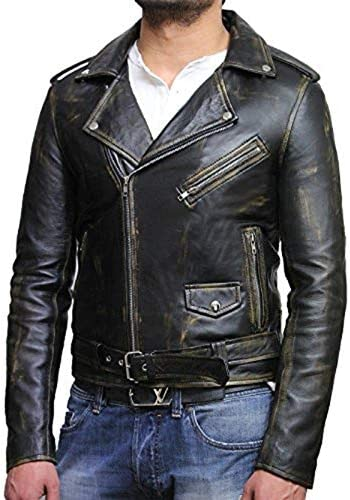 Brandslock Men S Leather Biker Brando Jacket Made Of Genuine Lambskin Bekleidung