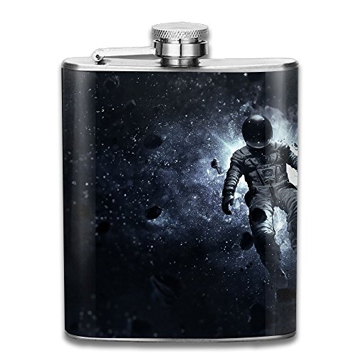 WUGOU Stainless Steel Hip Flask 7 Oz (No Funnel) Marvelous Space Astronaut Full Printed