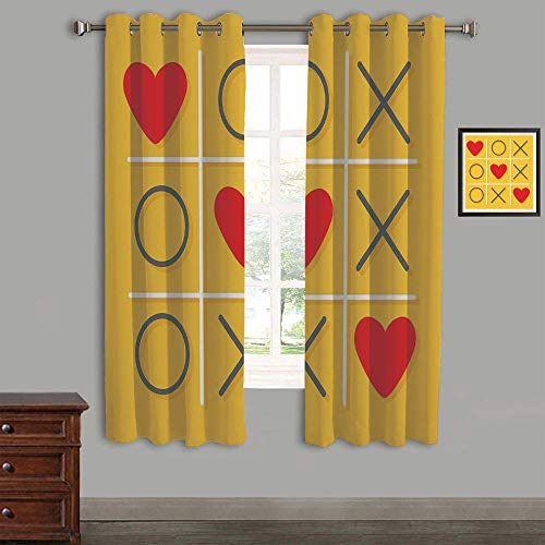 """Polyester Curtains Back Tab and Rings top Outdoor Curtains 2 Panels,58""""Wx45""""L,Love Decor,Tic Tac Toe Game with Xoxo Flat Design Let Me Kiss You Funny Playful Romantic Illustration,Yellow Red"""