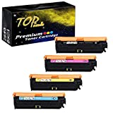 TopInk CE709A Toner Compatible for HP Color Laserjet Enterprise CP5525xh Printer Toner Cartridge, (1 Black,1 Cyan,1 Yellow,1 Magenta)-4 Pack