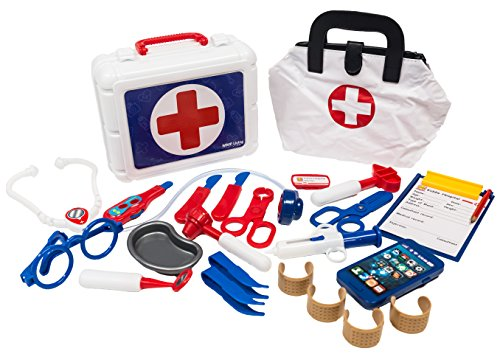MMP Living Deluxe Doctor Play Set - 28 Pieces, with Medical Bag and - Trolley Deluxe