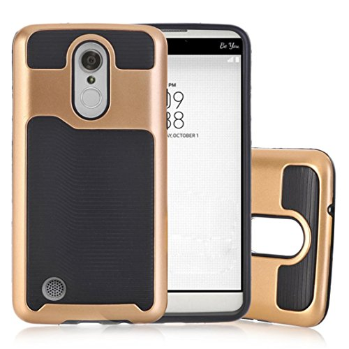 Voberry Shockproof Rubber Silicone Cover Hard Plastic Shell Case For LG K4 2017 Phoenix 3/Risio 2/Fortune (Gold)