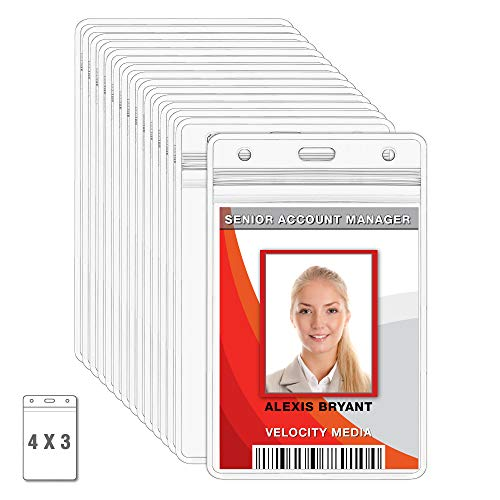 (MIFFLIN Large Vertical ID Badge Holders, Plastic Nametag Covers with Zipper, Clear 4x3 inch Name Tag Holder (250 Pack))