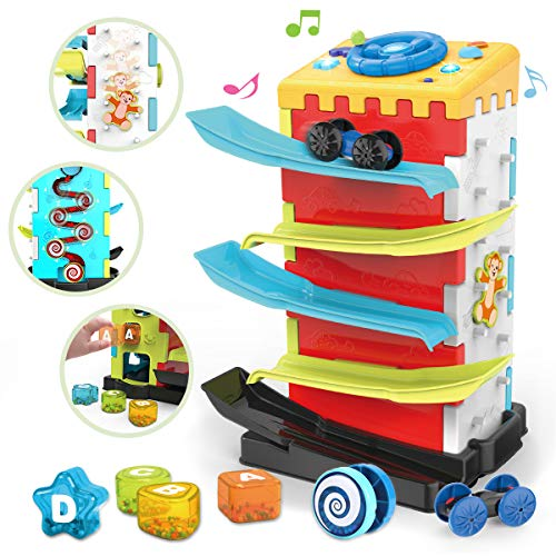 REMOKING Baby Toys 18 Plus Months Activity Cube Toy,5 In 1 Play Center with Car Ramp Truck,Music,Lights,Shape Sorter…