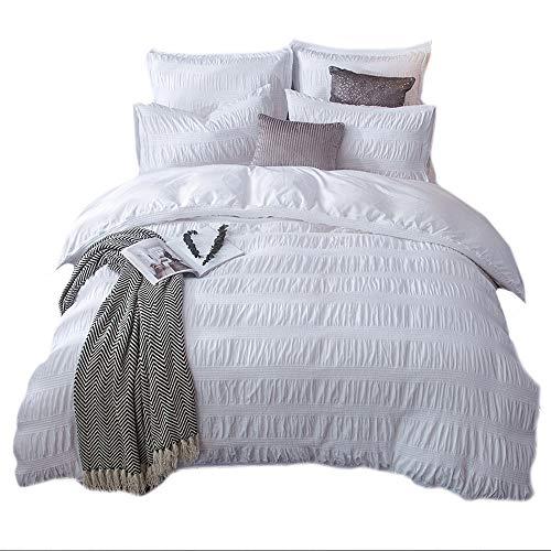 (Merryfeel 100% Cotton Yarn Dyed Duvet Cover Set - King White)