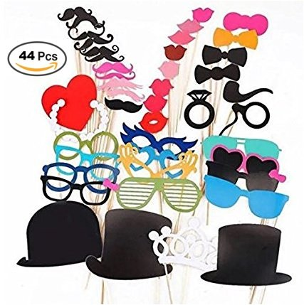 College Costumes Diy (44 Packs Party Photo Booth Props Diy Kit, Paper Prop On Wood Stick for Taking Funny Photos on Birthday/ Wedding/ Reunions/ Dress-up Costume Accessories with Mustache, Hats, Glasses, Lips, Bowties)
