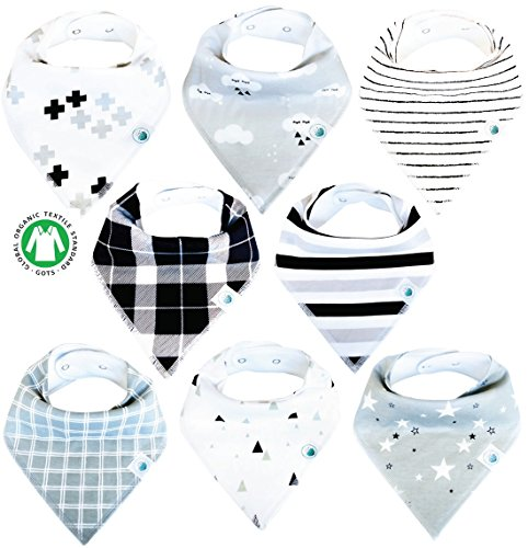 Baby Bandana Drool Bibs 8 Pack for Boys and Girls Soft Organic Cotton With Snaps for Teething Drooling Feeding Unisex Baby Shower Gift Newborn Registry Gift Set Burp Cloth (Black White Stars Cloud)