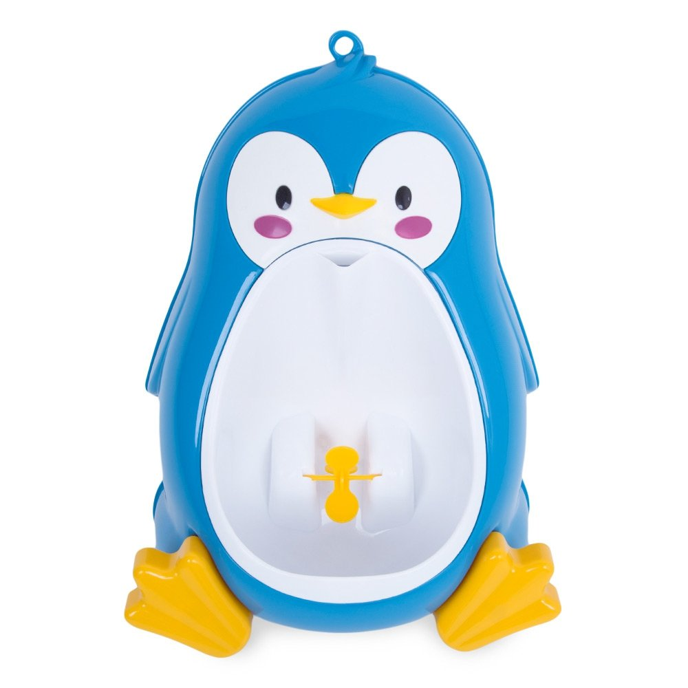 ShakeLady Boys Potty Training Urinal Standing Pee Cute Penguin Shape with Funny Aiming Target (Blue)