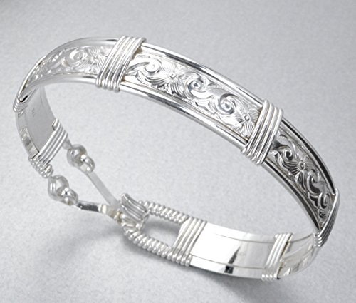 Custom Made For YOU! Made In Alaska 925 Sterling Silver Waves & Flowers Patterned Wire Wrapped Bracelet by Eclipse Designs Artisan Jewelry From Sitka, Alaska