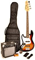 Ursa 2 JR RN PK 3TS Left Handed Sunburst 3/4 Size Bass Guitar Package w/Free Carry Bag, Amp and Instructional Video