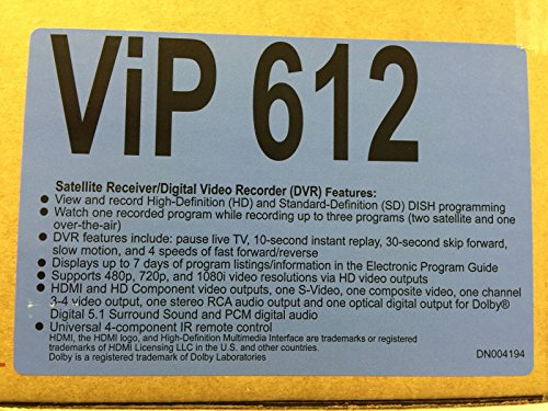 Factory Remanufactured Dish Network ViP 612 HD-DVR Single...