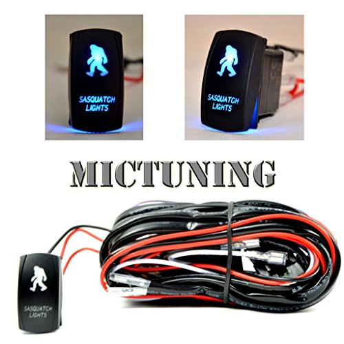(MICTUNING LED Light Bar Wiring Harness Fuse 40Amp Relay ON-OFF SASQIATCH Rocker Switch Blue(2 Lead ))