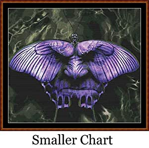 Mariposa Face–Tabla de punto de cruz/patrón [PDF en un CD], Smaller Chart