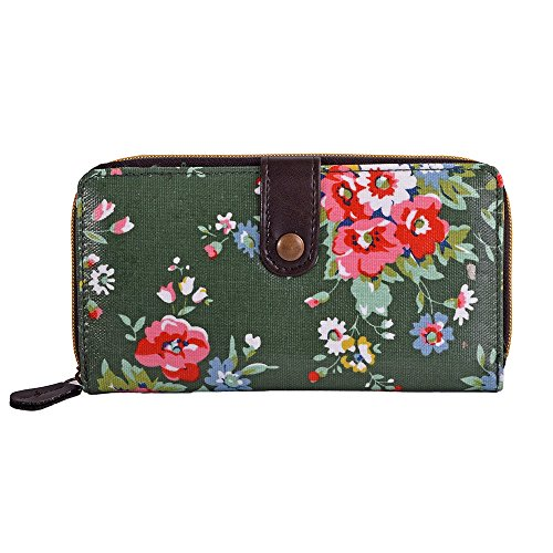 LeahWard® Damen Oilcloth Geldbörsen Groß Marke nett Brieftasche Geldbörse Tashen Grün Blume cAegcthS