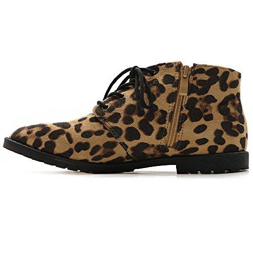 Classic Shoe Zip Flat Faux Lace Oxford Leopard Ollio Women's Up Suede tPEHwERq