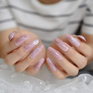 Amazon Com Coolnail Extra Long Pink Marble Press On False Nails Glossy Coffin Ballerina Pre Designed Curved Fake Fingersnails Free Adhesive Tapes Beauty