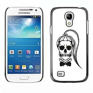 """For Samsung Galaxy S4 Mini (NOT for regular S4) Case , Cráneo Cola de caballo Funny Girl Muerte Blanca"""" - Diseño Patrón Teléfono Caso Cubierta Case Bumper Duro Protección Case Cover Funda"""