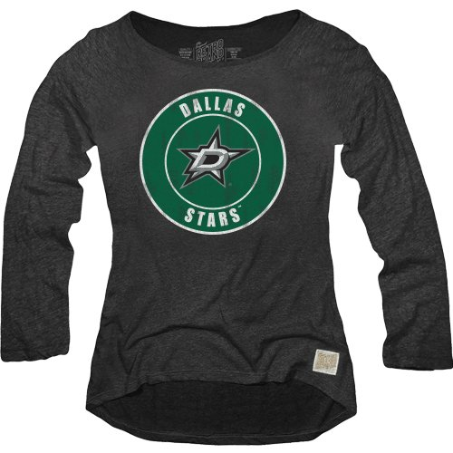 Nhl Womens Long Sleeve - NHL Dallas Stars Women's Long Sleeve Relaxed Fit Boat Neck Top, X-Large, Black
