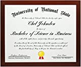 8.5x11 Mahogany Certificate and Document Frame - Wide Gallery Molding- Includes both Attached Hanging Hardware and Desktop Easel - Display Certificates, Documents, a Diploma, or an 8.5 x 11 Inch Photo