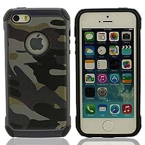 iPhone 5 & 5S Funda Carcasa Color de Camuflaje, iPhone 5 Case Cover, Duro Plastico Doble capa Diseño para iPhone 5S / 5
