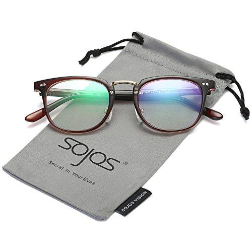SojoS Square Reading Glasses Optical Frame Clear Lens Eyewear Eyeglasses for Men and Women SJ6005 With Brown - Frames Eyeglass Cheap Men For