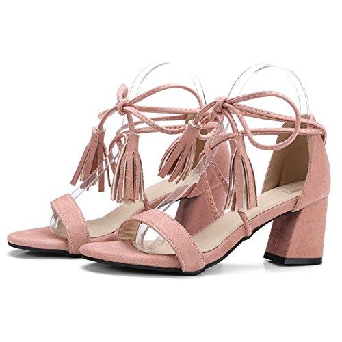 COOLCEPT Mujer Moda Cordones Sandalias Tacon Ancho Punta Abierta Zapatos Fleco Rosado