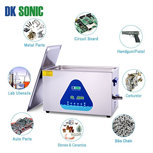 Lab Digital Ultrasonic Carburetor Cleaner Heated - DK SONIC 22L 480W Ultrasonic Gun Cleaner for Parts Jewelry Brass Eyeglass Ring Fuel Injector Glasses Record Diamond Circuit Board 28/40KHz by DK SONIC (Image #5)