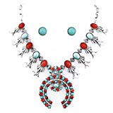 Turquoise Coral Silver Southwest Squash Blossom Necklace