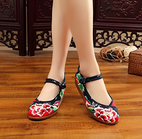 Avacostume Femmes Broderie Batik Contraste Couleur Wedge Party Chaussures Rouge