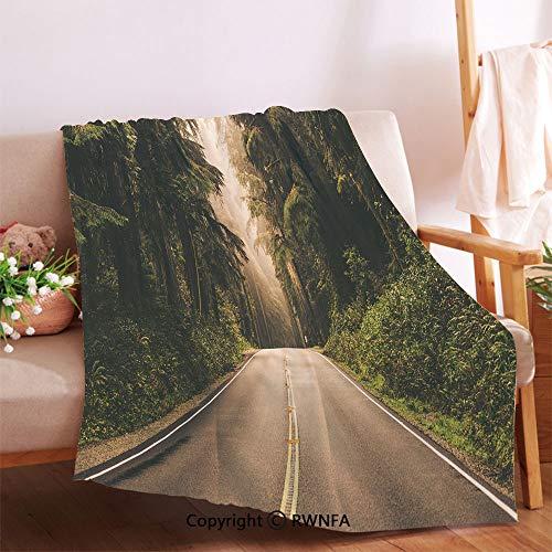 RWNFA Straight Highway in Northern California United States Nature Photography Decorative Flannel Fleece Microfiber Blanket.Living Room/Bedroom Warm Blanket(54