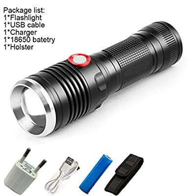 G, XML L2 : Powerful 8000LM USB CREE XM-L2 LED Tactical Flashlight Lantern Aluminum Torch Flash Light Camping Lamp with Smart Power Reminder