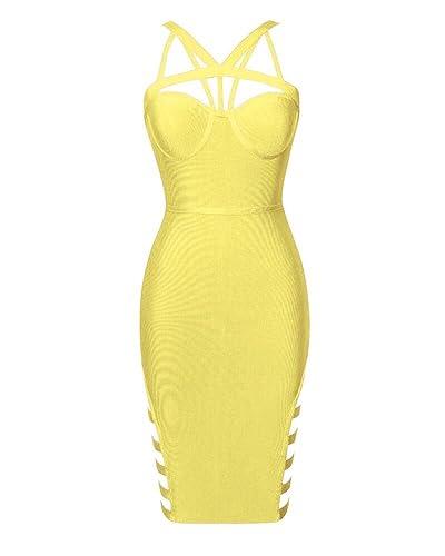 Whoinshop Women's Crisscross Strappy Cut Out Midi Sexy Club Bandage Dress