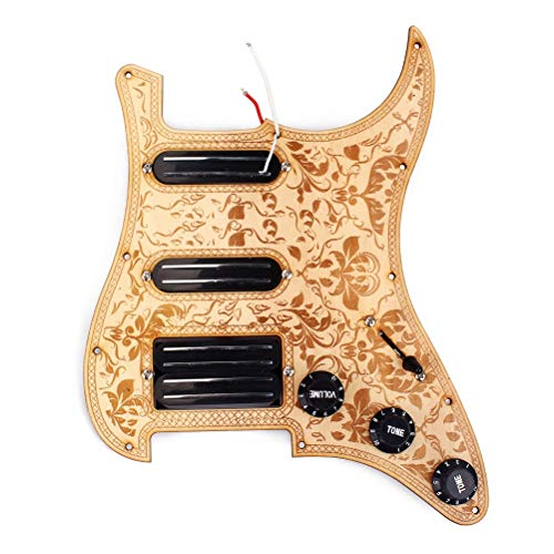 3 Ply Maple SSH Prewired Loaded Pickguard Scratch Plate 2 Single Coil Pickups and Humbucker Magnet Pickups Assembly Set for Fender ST/Strat Electric Guitar (Golden)