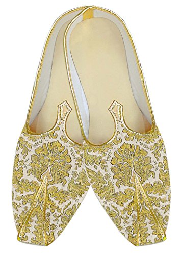 INMONARCH Crema Kheenkhap Hombres Zapatos de Boda Tradicional MJ18414