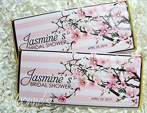 (Cherry Blossom Bridal Shower Candy Bar Wrappers - Personalized Wrappers for Chocolate Bars Favors - For Bridal Shower, Baby Shower, Birthday, Sweet 16 (SET OF 12) ** Chocolate Not Included **)