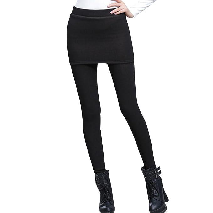 54ed43ddd02241 Phorecys Women's Thermal Winter Fleece Lined Pants Skinny Skirt Leggings  Tights Black S - UK 4