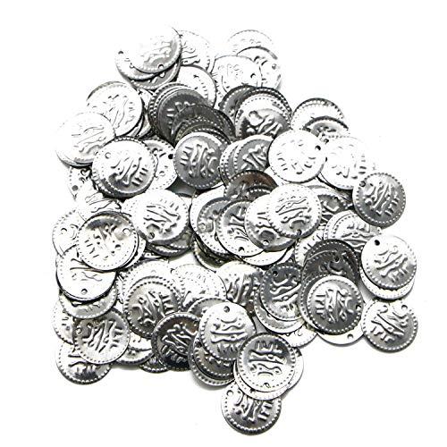 JETEHO 400 Pcs Silver Belly Dance Dancing Costume Hip Scarf Belt Coin Beads Horus Eye Coin Bulk -