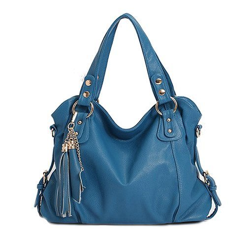 Geniune Leather Handbag Fashion Tassel Shoulder Tote Handbags of Famous Women (Blue) price tips cheap