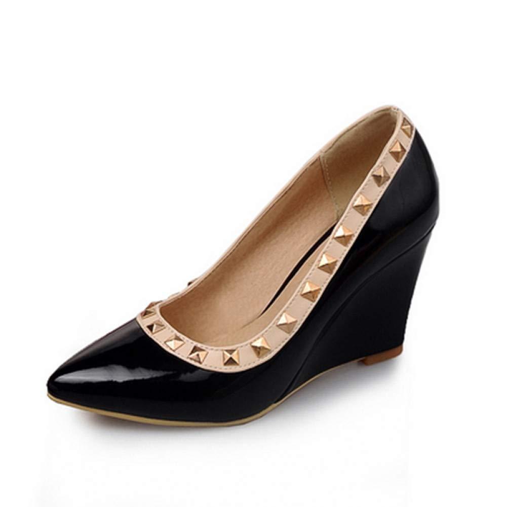 Ai Ya-liangxie Big Größe 33-43 Wies Toe Nieten Pumps Schuhe Frauen Mode Keil High Heels Frühjahr Schuhe Frau Schuhe