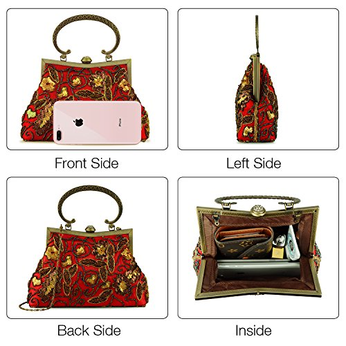 Lifewish Vintage Embroidered Top Bag Evening handle Beaded Women Formal Clutch Satin Red Sequins Prom gr1qpwgnR