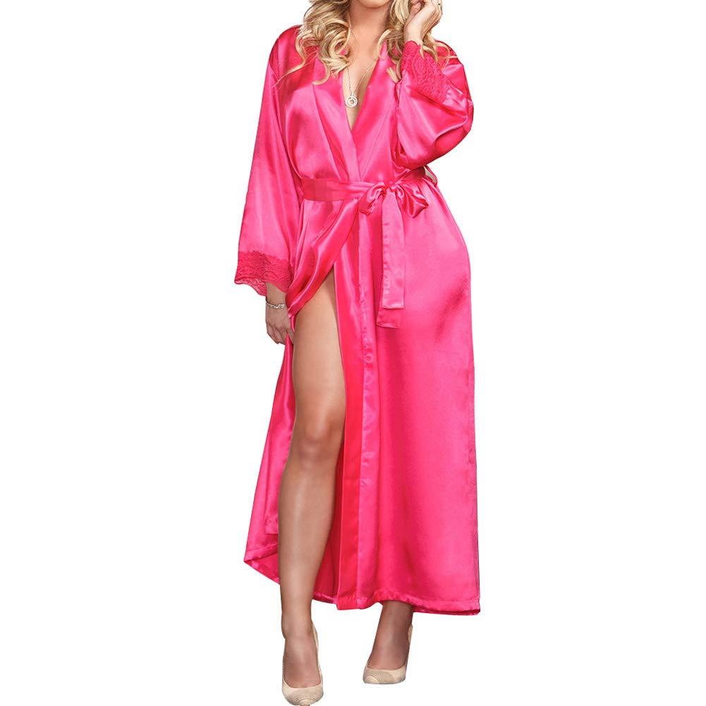 EULAGPRE Mujeres Raso de Seda Largo Boda Novia Dama de Honor Bata Pijama Feminino Baño: Amazon.es: Ropa y accesorios