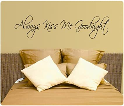 Always Kiss Me Goodnight Hearts Wall Decal Decor Love Words Large ...