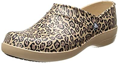 Crocs Womens Women's Neria Leopard Print Mule,Gold,4 M US