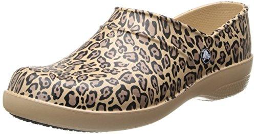 Crocs Womens Women's Neria Leopard Print Mule,Gold,6 M US