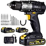 Cordless Drill, 20V 1/2' Drill Driver Set 2x2.0Ah Li-Ion Batteries, 30Min Fast Charger 4.0A, 29pcs Accessories, 24+1 Torque Setting, 2-Variable Speed Max Torque 530 In-lbs, Metal Keyless Chuck