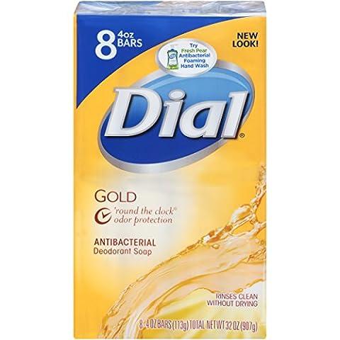 Dial Antibacterial Deodorant Bar Soap, Gold, 4-Ounce Bars, 8 Count (Dial Bar Gold)