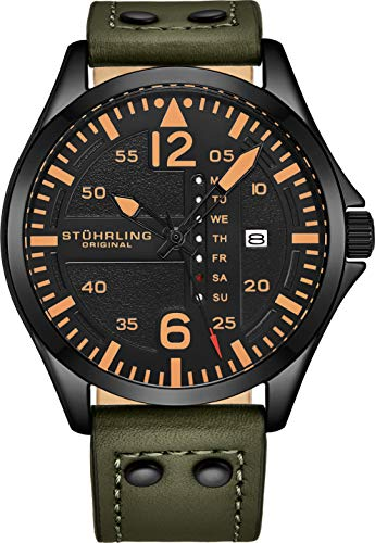 Stuhrling Original Mens Leather Watch -Aviation Watch, Quick-Set Day-Date, Leather Band with Steel Rivets, 699 Men Watch Collection ()
